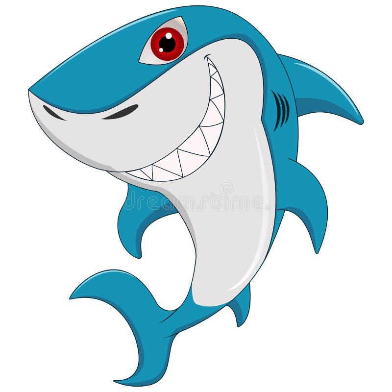 在白色背景隔绝的动画片滑稽的鲨鱼 库存例证