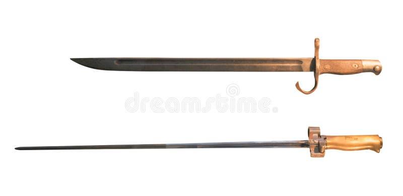 在白色背景隔绝的刺刀刀子 从第二次世界大战的刺刀刀子 免版税库存照片