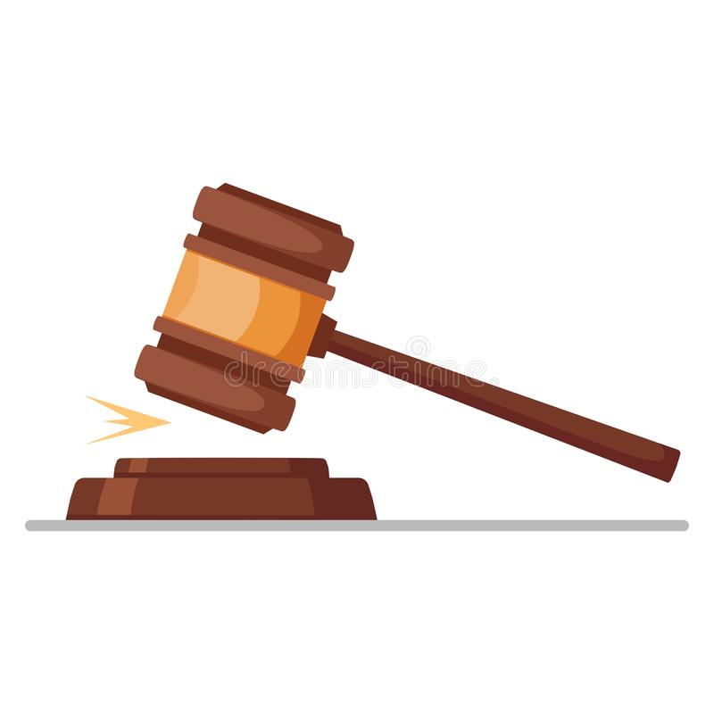 在白色背景隔绝的正义锤子 惊堂木可实现法官的照片 拍卖,法官cocept 传染媒介平的设计 库存照片