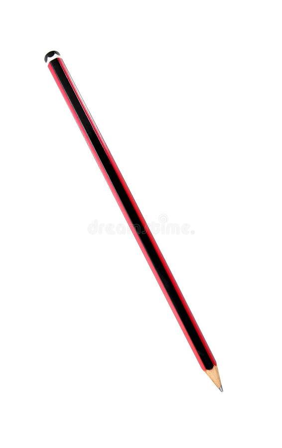 在白色背景隔绝的红色和黑色铅笔 免版税库存照片
