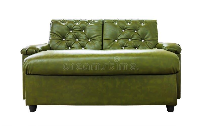 在白色背景隔绝的皮革沙发 与绿色的现代椅子 裁减路线 免版税库存图片