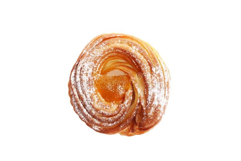 在白色背景隔绝的甜热的桃子果酱松饼 图库摄影