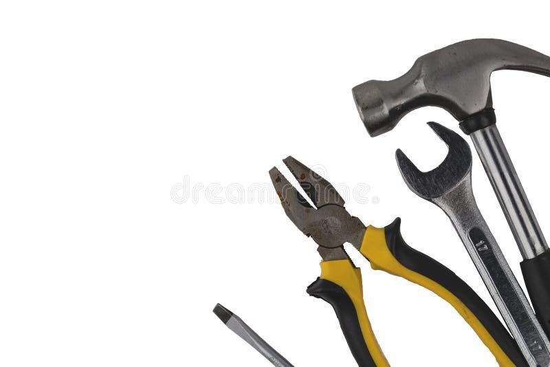 在白色背景隔绝的设置工具,工业工作工具 库存照片