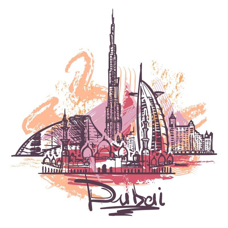 在白色背景隔绝的迪拜抽象颜色图画例证 库存例证
