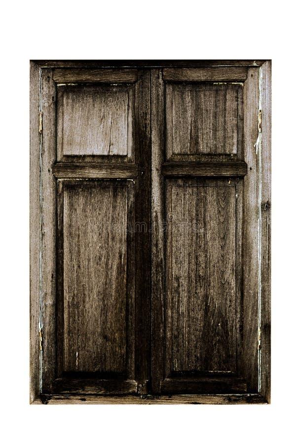 在白色背景隔绝的老木窗口 免版税图库摄影