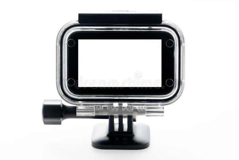 在白色背景隔绝的防水水色箱子的极端行动照相机 英尺长度4k电影、体育和国内lif的照相机 免版税库存照片
