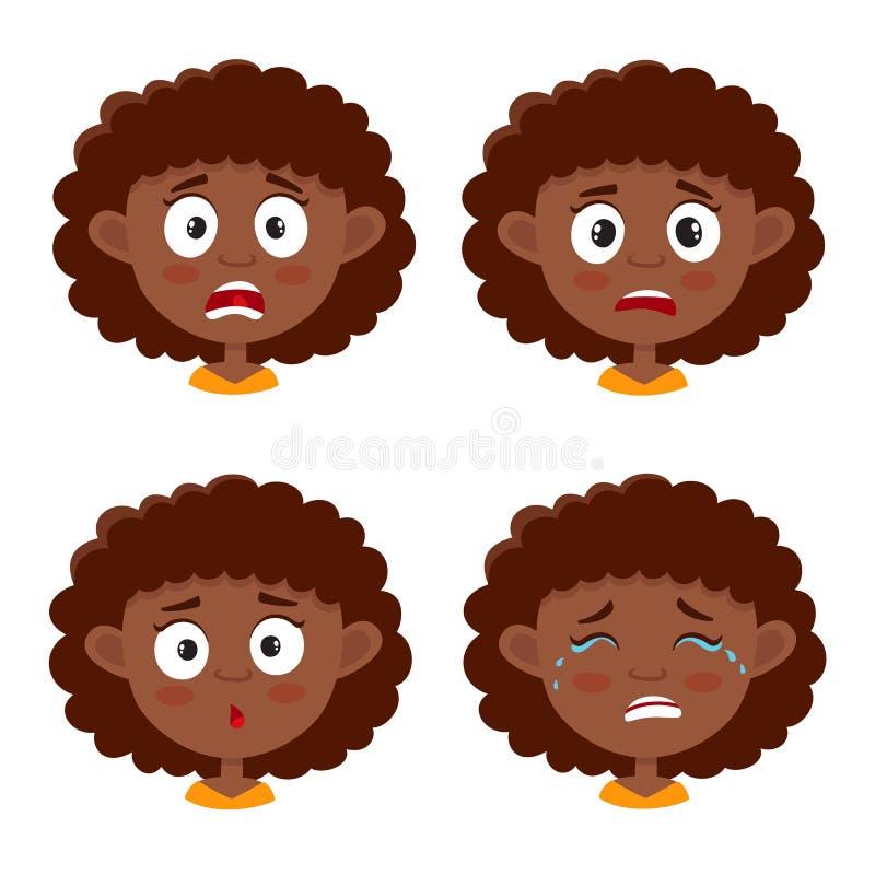 在白色非洲女孩害怕的面孔表示隔绝的套 库存例证