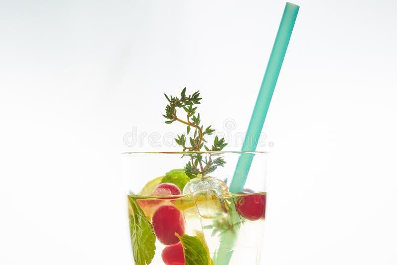 在白色隔绝的吊索的冷的薄荷的莓果鸡尾酒 复制空间 与秸杆的夏天刷新的饮料 文本的空位 库存照片