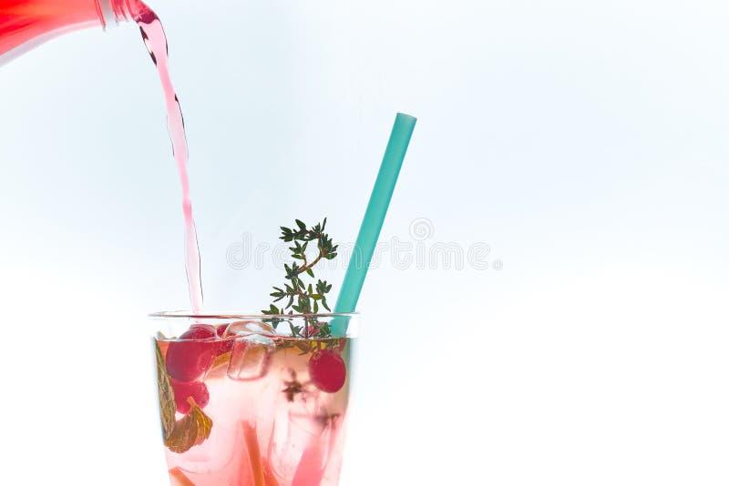在白色隔绝的吊索的冷的薄荷的莓果鸡尾酒 复制空间 与秸杆的夏天刷新的饮料 自由空间为 库存图片
