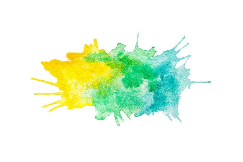 在白色隔绝的抽象黄色、绿色和蓝色水彩绘的背景 库存例证