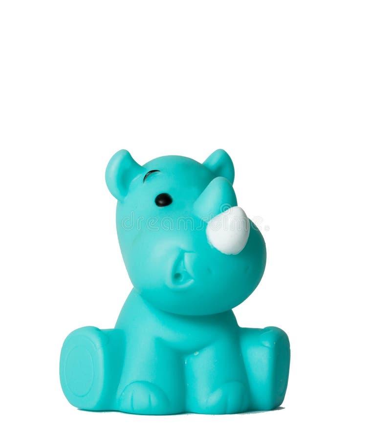 在白色隔绝的玩具犀牛 免版税库存图片