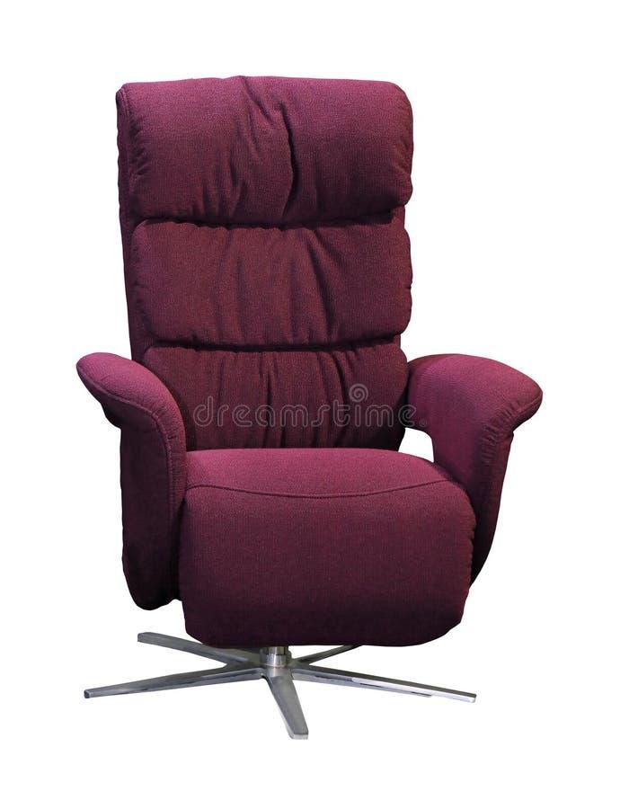 在白色隔绝的紫色纺织品扶手椅子 免版税图库摄影