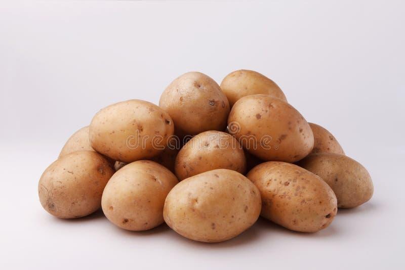 在白色backgroun的一些土豆 库存照片