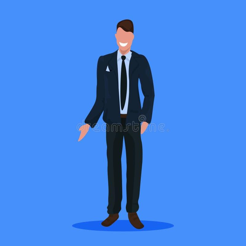 在衣服身分姿势商人办公室工作者公卡通人物全长平的蓝色的愉快的商人 皇族释放例证