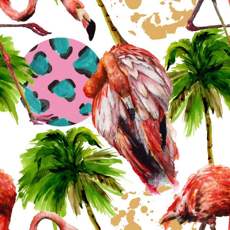 在被隔绝的野生生物的异乎寻常的红色火鸟 水彩背景例证集合 无缝的背景模式 免版税库存图片