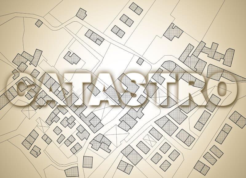 在西班牙和葡萄牙catastro写的地籍图文本在疆土一个地籍图有大厦、路和土地的 库存图片