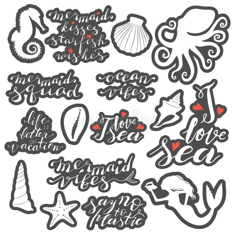 在词组贴纸上写字的手设置在白色与在白色背景隔绝的灰色等高 向量例证