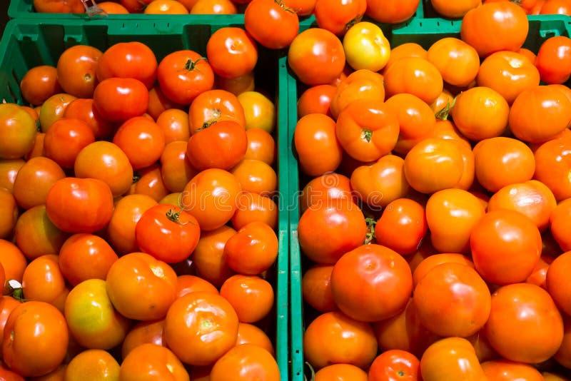 在超级市场柜台的水多的成熟红色蕃茄 特写镜头,宏指令,背景 免版税图库摄影