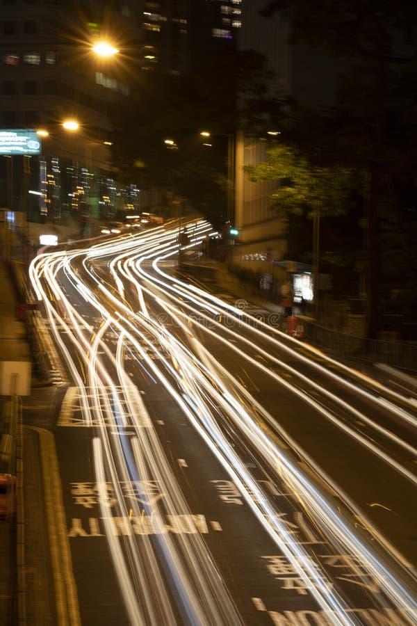 在路的运输流量光 库存图片
