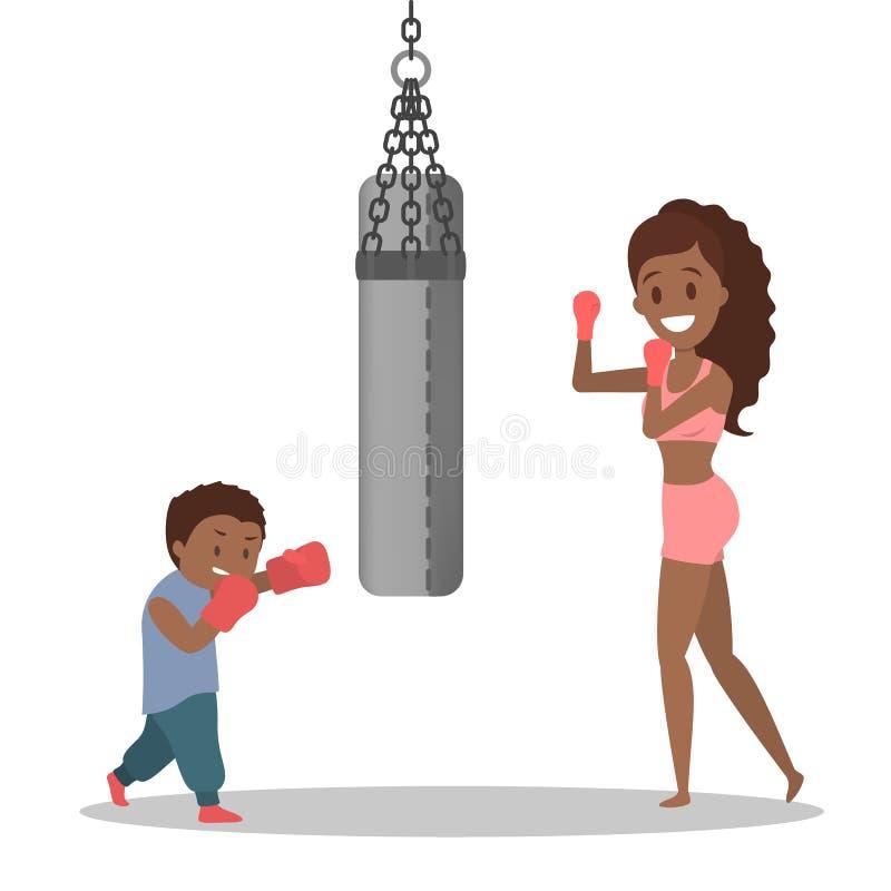 在运动服拳击和儿子打扮的母亲 向量例证