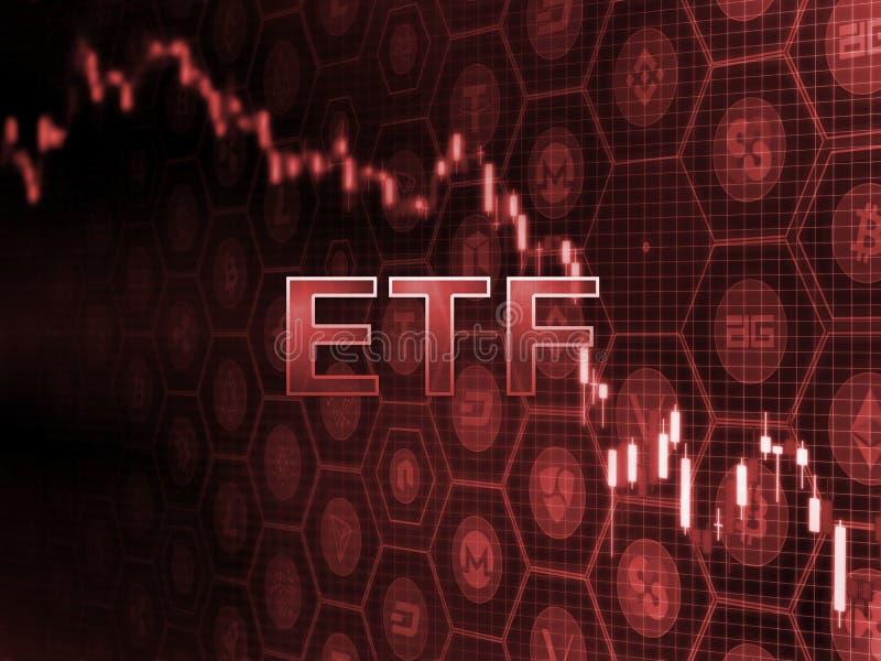在蜡烛棍子图的红色发光的文本与bitcoin和alt硬币背景 SEC批准ETF资金的延迟决定 向量例证