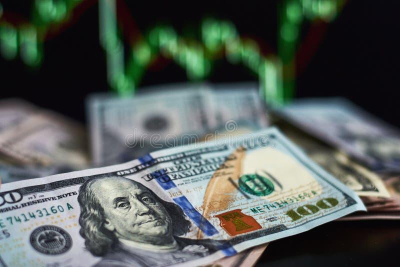在背景的美元票据与汇率动力学  贸易和金融风险概念 免版税库存图片