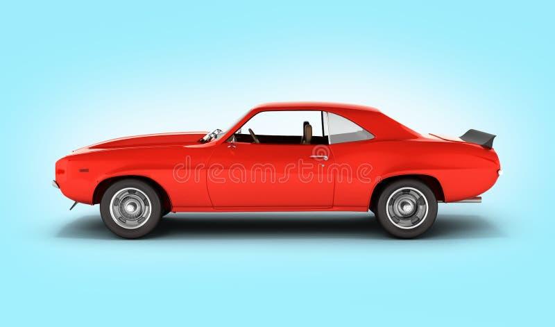 在蓝色梯度背景3d的肌肉汽车侧视图 库存例证