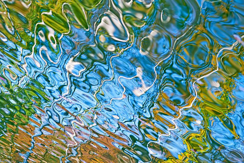 在蓝色,黄色和绿色的美好的抽象水反射 免版税图库摄影