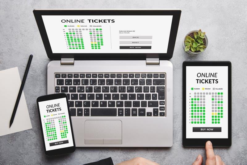 在膝上型计算机、片剂和智能手机屏幕上的网上票概念 库存照片