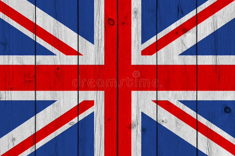 在老木板条绘的英国旗子 库存照片