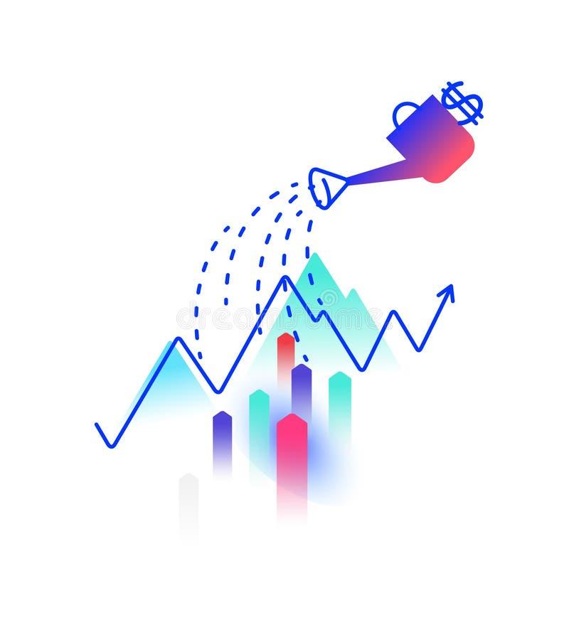 在财务收益题目的例证  向量 赢利和投资 喷壶浇灌赢利图 图象是 向量例证