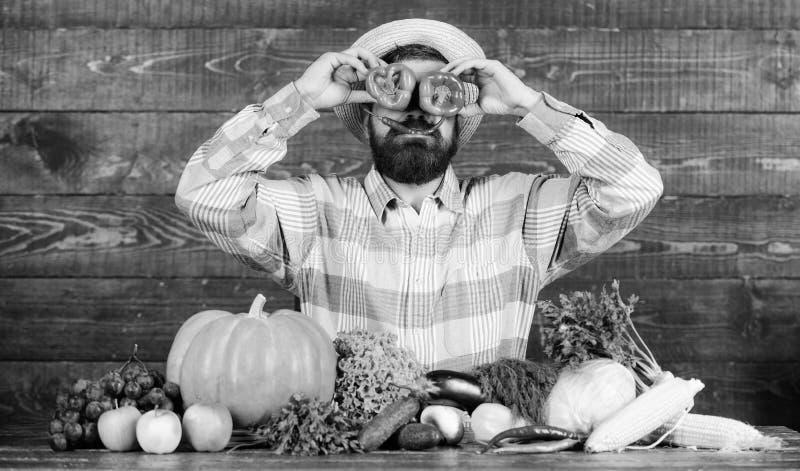 在面孔前面的有胡子的农夫举行胡椒 胡椒收获概念 有的农夫乐趣木背景 人举行 库存图片
