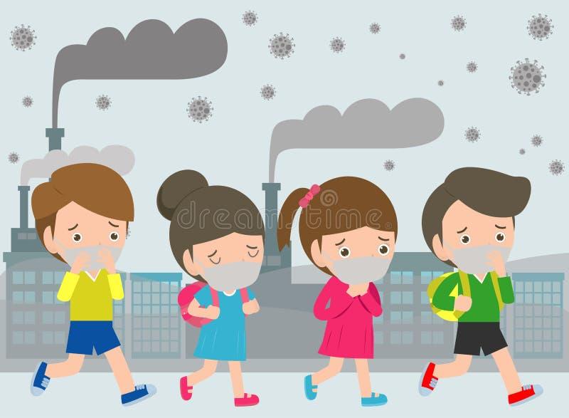 在面具的孩子由于美好的尘土PM 2 反对烟雾的5,男孩和女孩佩带的面具 美好的尘土,空气污染 向量例证