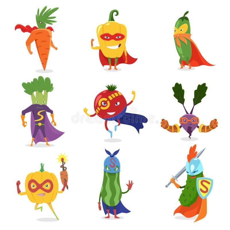 在面具的超级英雄菜和海角被设置逗人喜爱的幼稚动画片在服装的被赋予人性的字符 有用的维生素 皇族释放例证