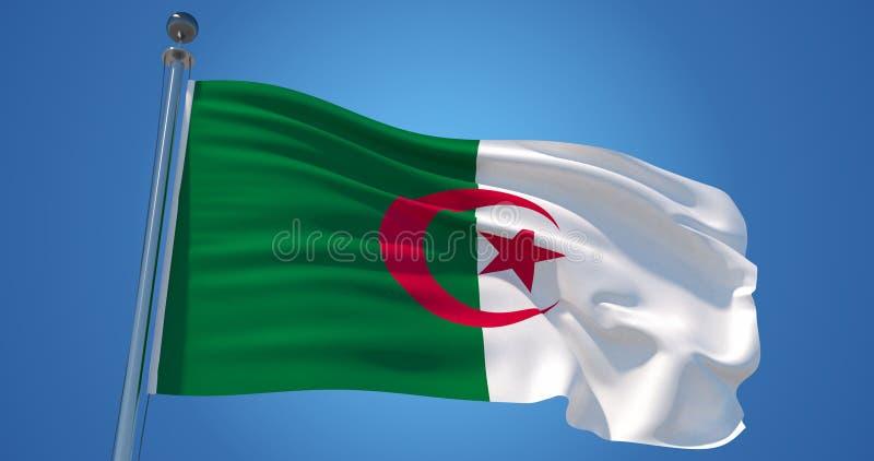 在风的阿尔及利亚旗子反对清楚的天空蔚蓝,3d例证 库存例证