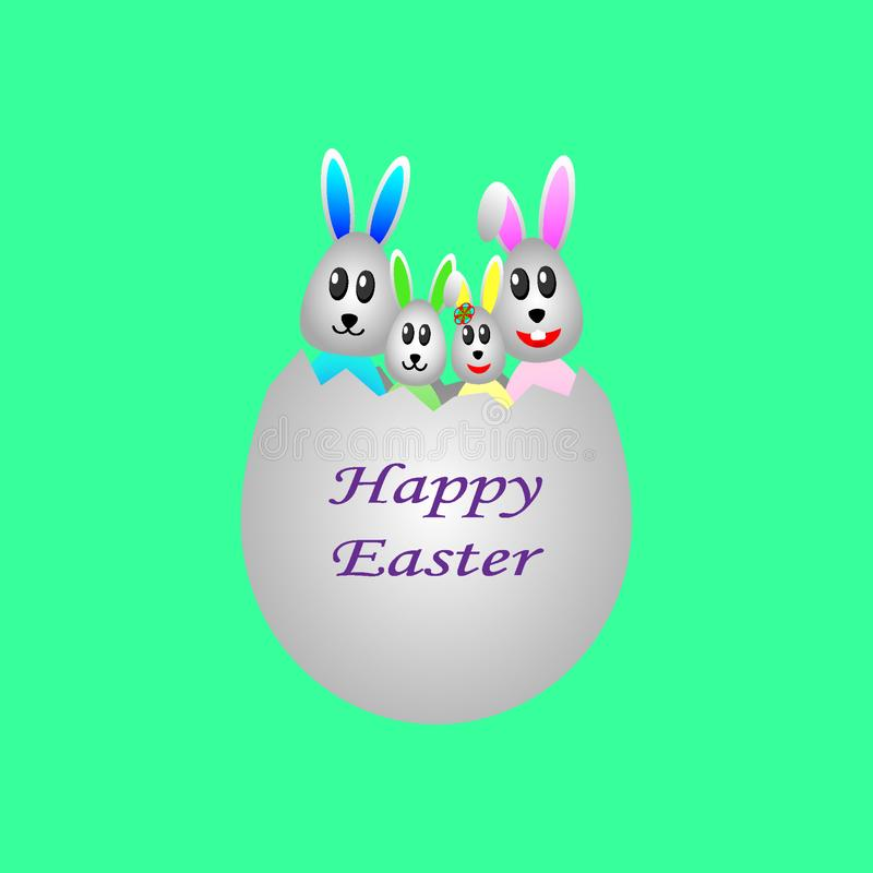 在鸡蛋的复活节兔家庭为假日 库存例证