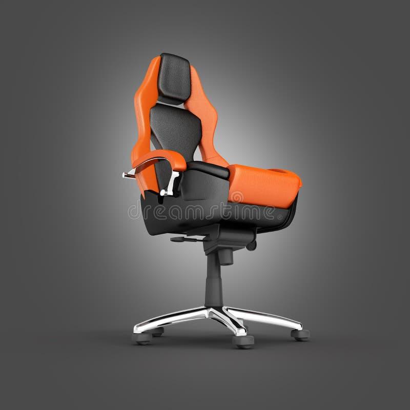在黑梯度背景隔绝的现代办公室椅子3d回报 向量例证