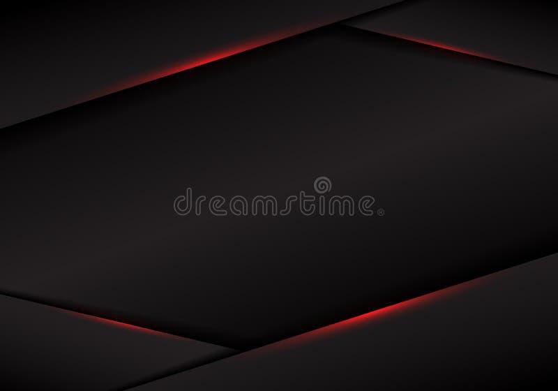 在黑暗的背景的摘要模板黑色框架布局金属红灯 现代豪华未来派技术概念 库存例证