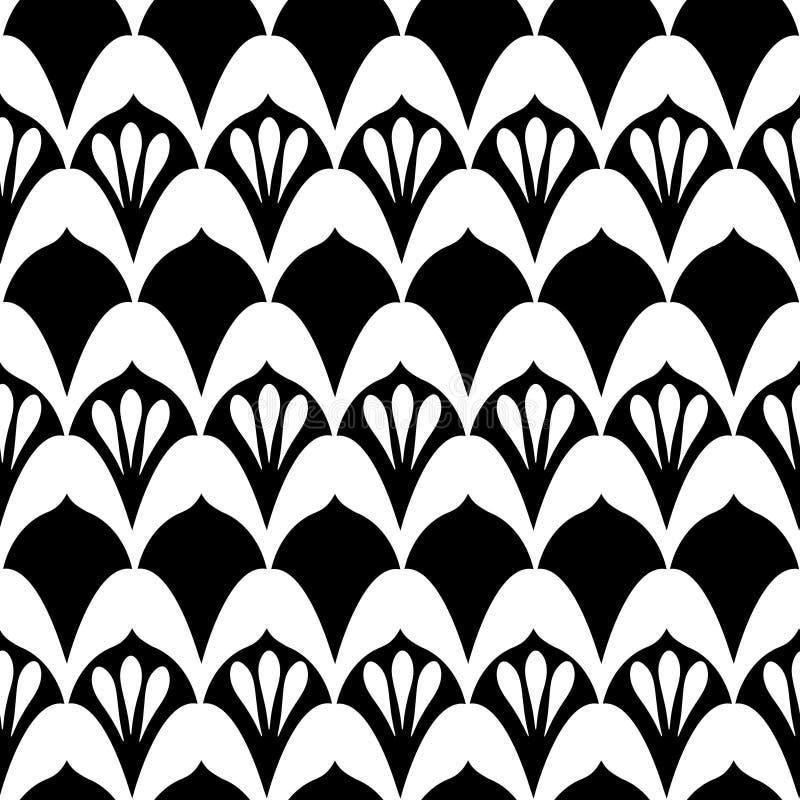 在黑&白色的装饰艺术运动印刷品 向量例证