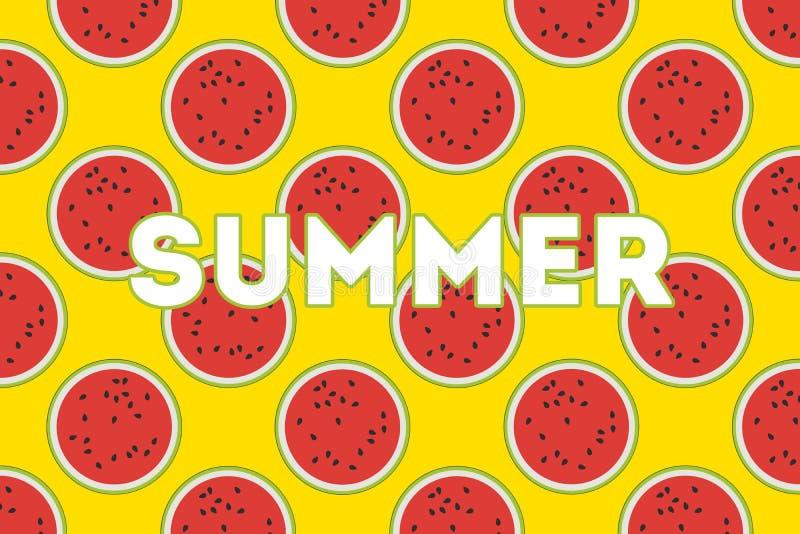 在黄色背景的西瓜 夏天设计 明亮的五颜六色的背景 向量例证