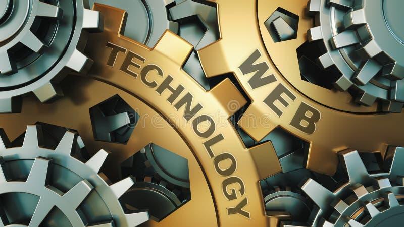 在金齿轮'网技术的'题字 到达天空的企业概念金黄回归键所有权 齿轮机构 3d回报 免版税库存图片