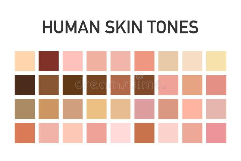 在透明背景隔绝的人的肤色色板显示集合 艺术设计 也corel凹道例证向量 免版税图库摄影