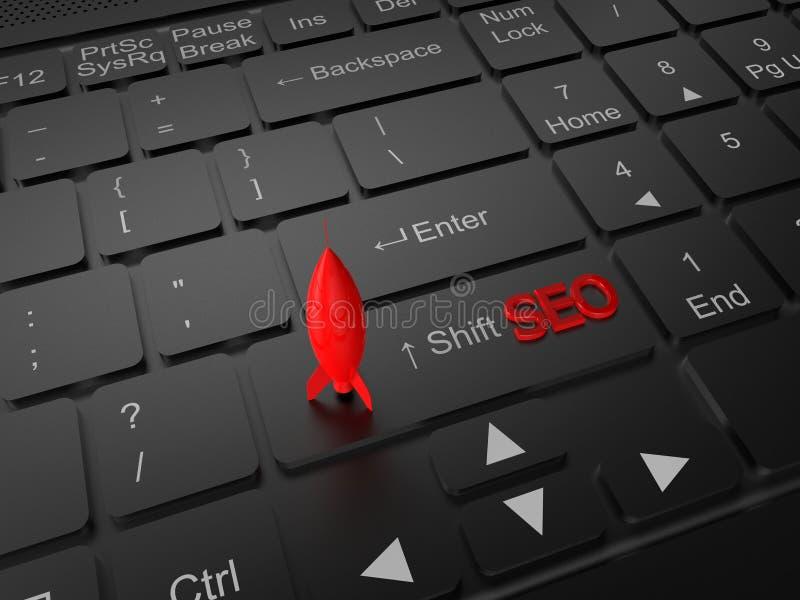 在键盘顶部的SEO红色火箭 皇族释放例证