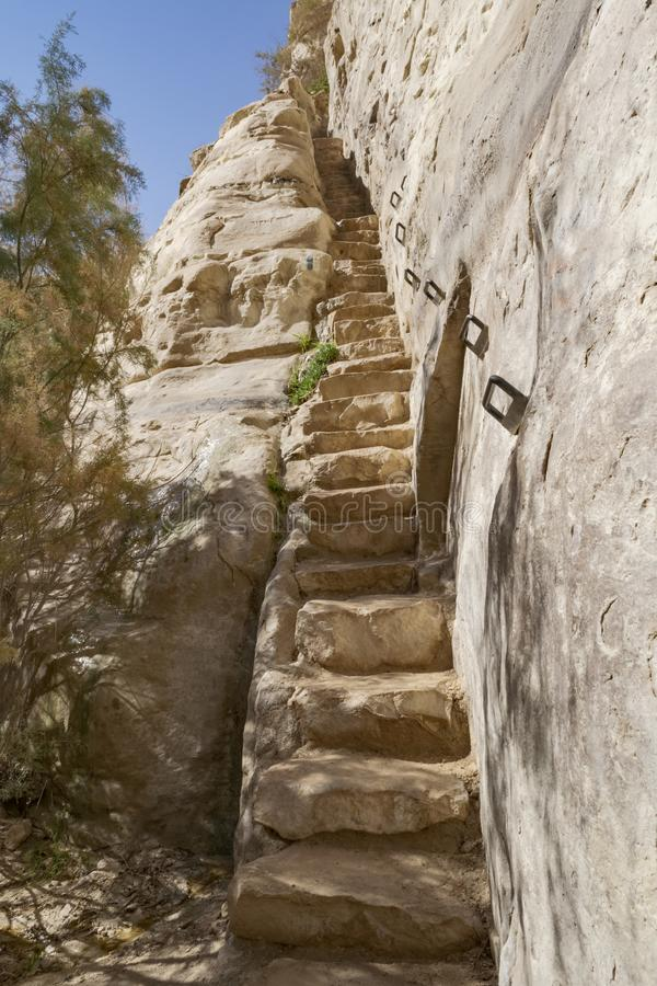 在Ein Avdat峡谷的被雕刻的石步在以色列 免版税库存照片