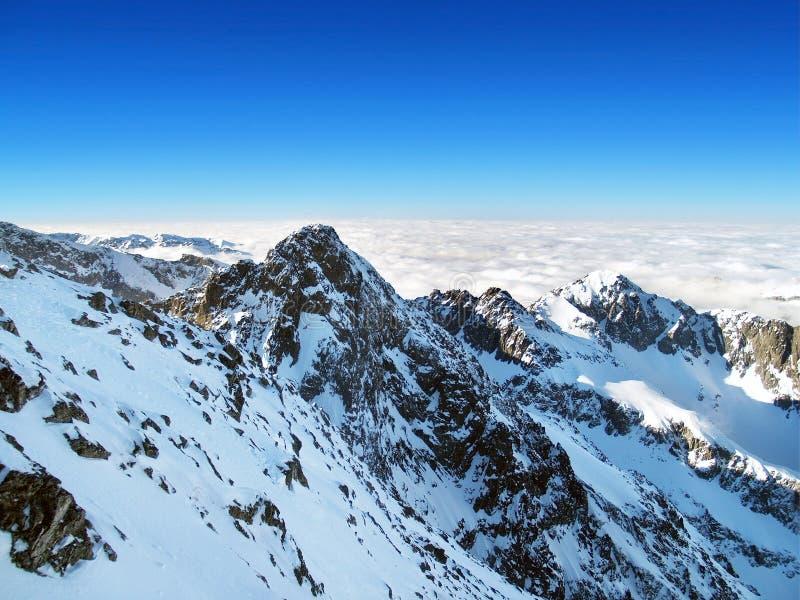 在Lomnicky峰顶顶部,高Tatras,斯洛伐克 库存照片