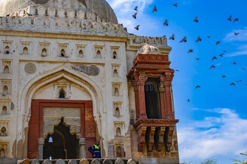 在minar的qutab附近 免版税库存图片