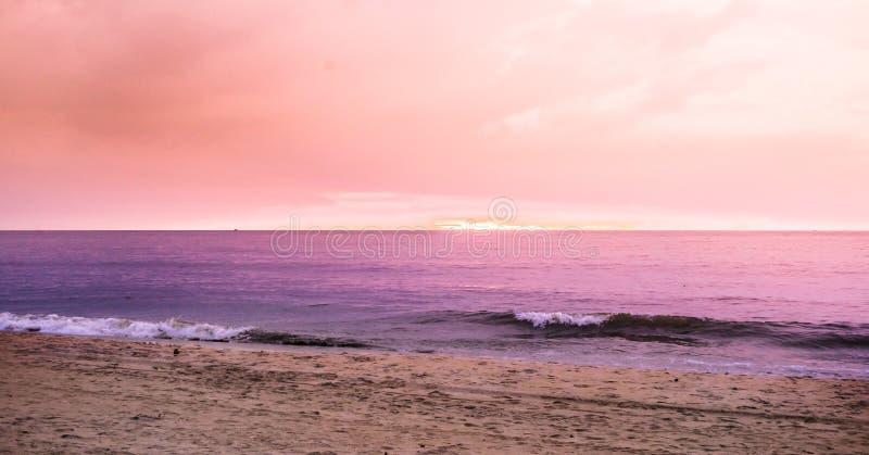 在negombo海滩的桃红色日落在斯里兰卡 库存照片