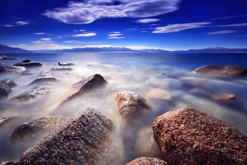 在selimu湖岸的吻合风景在新疆 免版税图库摄影