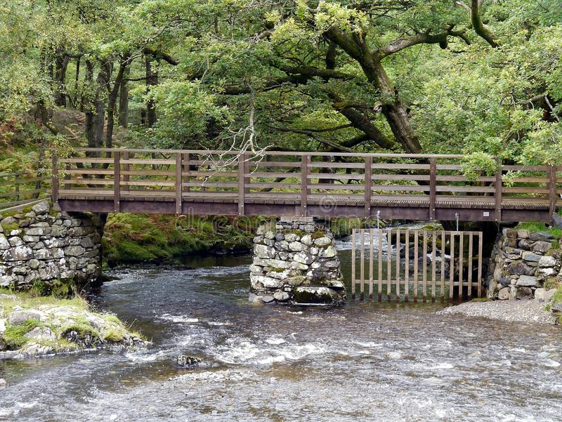 在Watendlath贝克,湖区的桥梁 库存图片