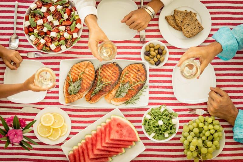 地中海的饮食 概念吃健康 顶视图 图库摄影